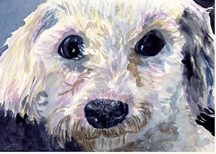 Bichon Frise Greeting Card featuring the painting Did You Say Lunch by Sharon E Allen