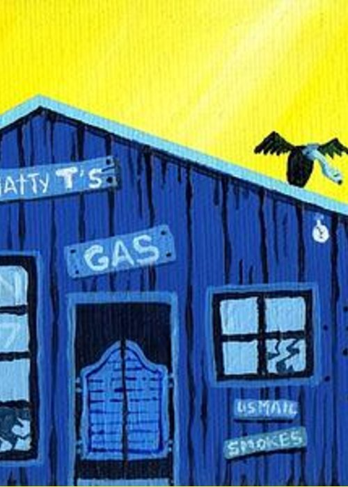 Gas Station Greeting Card featuring the painting Did You See That by Dan Keough