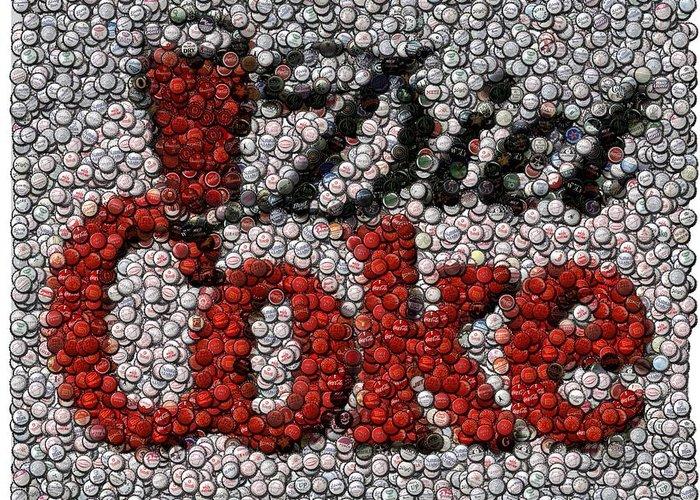 Diet Coke Greeting Card featuring the digital art Diet Coke Bottle Cap Mosaic by Paul Van Scott