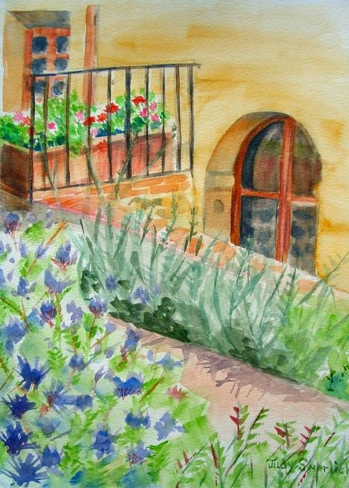 Flowers Surrounding Apartment On Vineyard Greeting Card featuring the painting Dievole Vineyard by Judy Swerlick