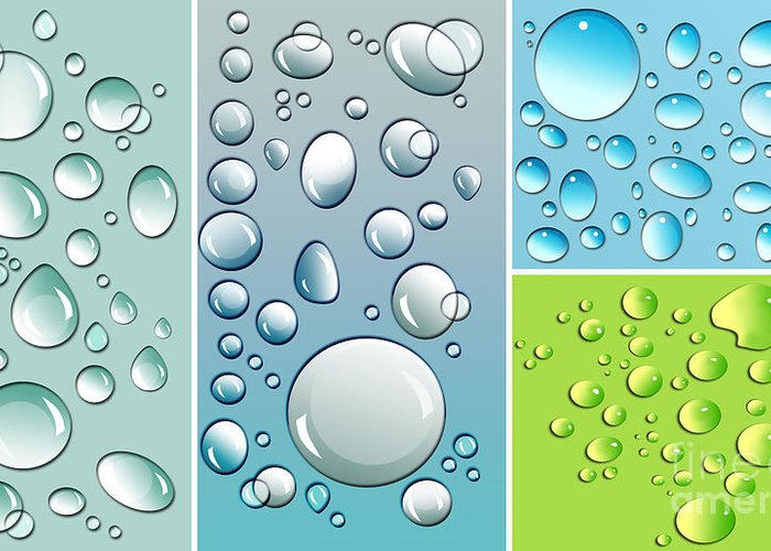 Abstract Greeting Card featuring the digital art Different Size Droplets On Colored Surface by Sandra Cunningham