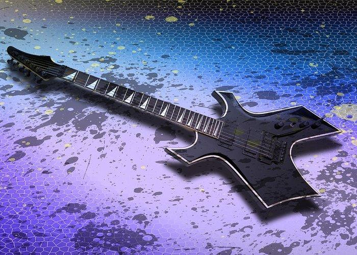 String Greeting Card featuring the photograph Digital-art E-guitar II by Melanie Viola