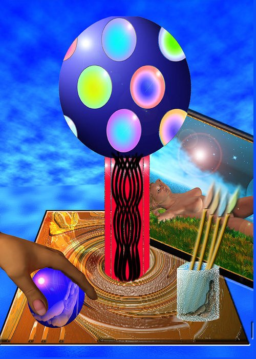 Digital Image Greeting Card featuring the digital art Digital Artis's Table by Peter Jenkins