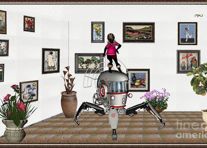 Modern Painting Greeting Card featuring the mixed media Digital Exhibition 421 by Pemaro