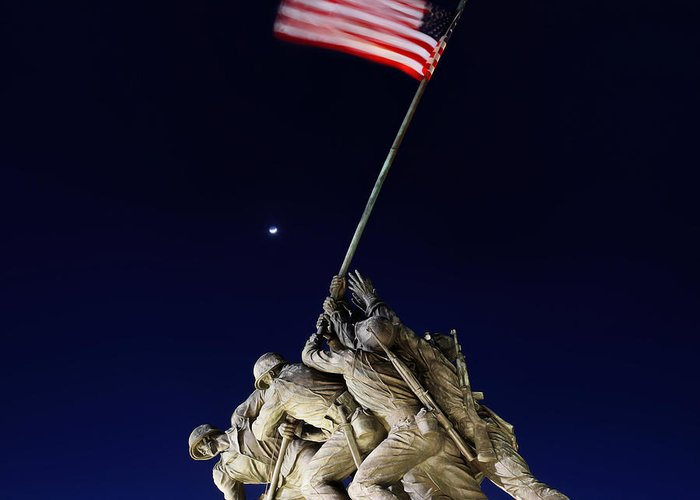 Metro Greeting Card featuring the photograph Digital Liquid - Iwo Jima Memorial At Dusk by Metro DC Photography