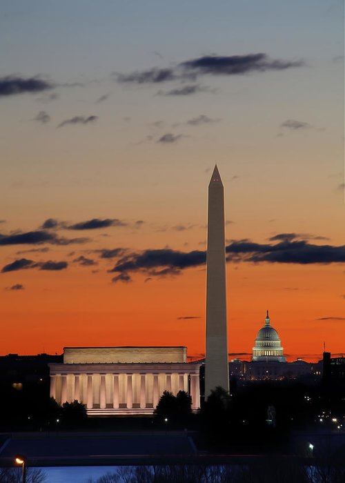 Metro Greeting Card featuring the digital art Digital Liquid - Monuments At Sunrise by Metro DC Photography