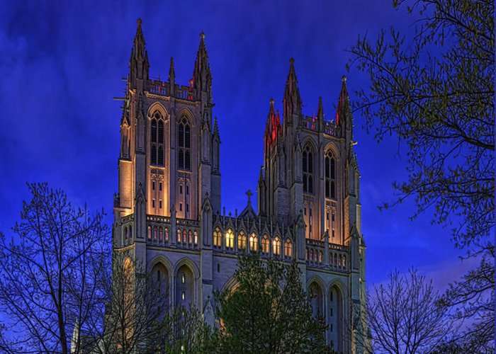 Metro Greeting Card featuring the digital art Digital Liquid - Washington National Cathedral After Sunset by Metro DC Photography