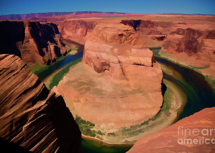 Horseshoe Bend Greeting Card featuring the photograph Digital Paint Horseshoe Bend by Chuck Kuhn