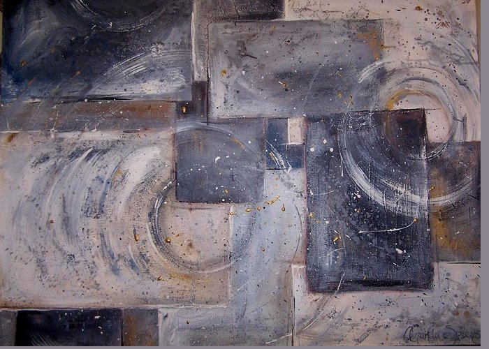 Abstract Greeting Card featuring the painting Dimensional Disarray COMMISSIONED SOLD by Amanda Sanford