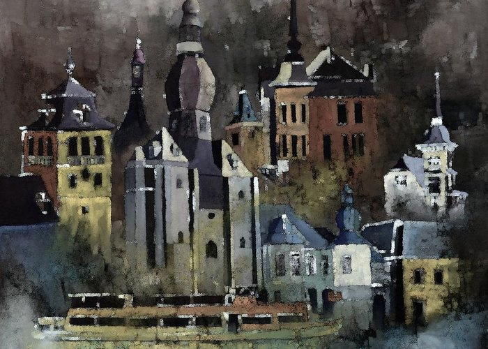 Urban Landscape Greeting Card featuring the painting Dinant Watercolor by Pol Ledent