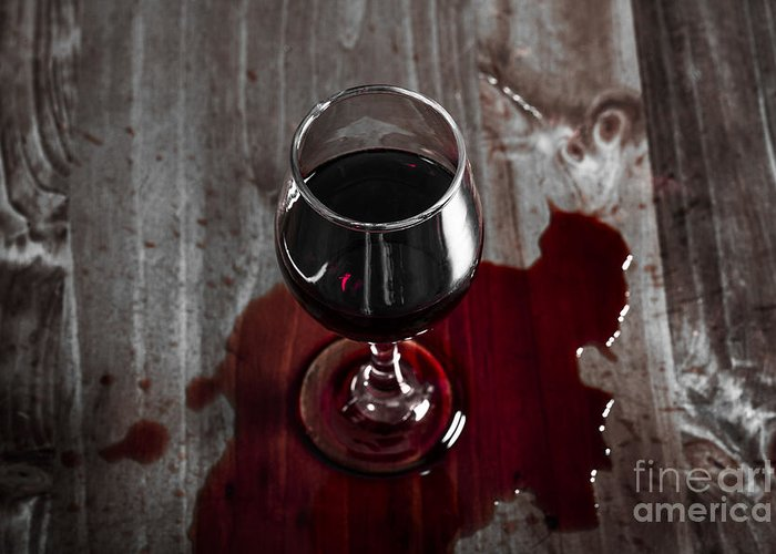 diner table accident spilled red wine glass greeting card for sale