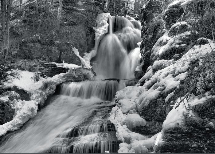 Waterfall Greeting Card featuring the photograph Dingmans Falls In Winter by Stephen Vecchiotti