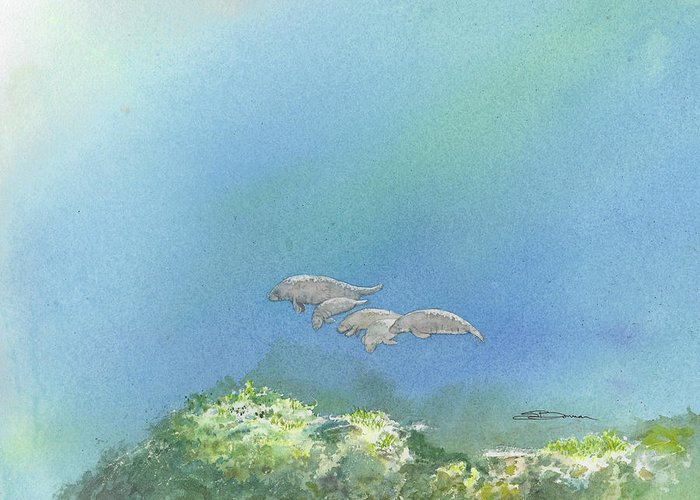 Manatee Greeting Card featuring the painting Dining Out by Sharon Bowman
