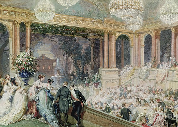 Dinner Greeting Card featuring the painting Dinner At The Tuileries by Henri Baron