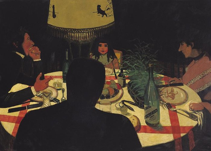 Dinner Greeting Card featuring the painting Dinner By Lamplight by Felix Edouard Vallotton