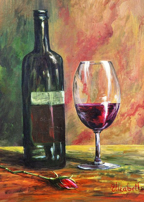 Wine Greeting Card featuring the painting Dinner For One by Beth Maddox