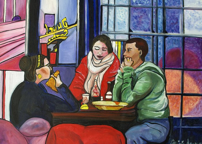 People Greeting Card featuring the painting Dinner In Dam by Patricia Arroyo