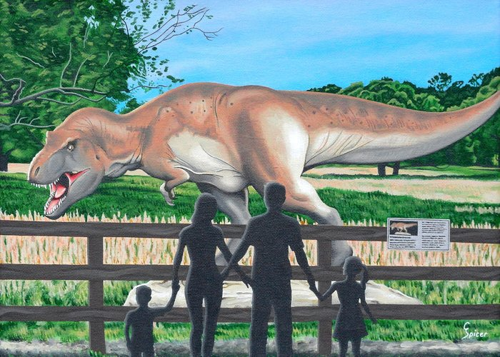 Dinosaur Greeting Card featuring the painting Dinosaur Country by Christopher Spicer