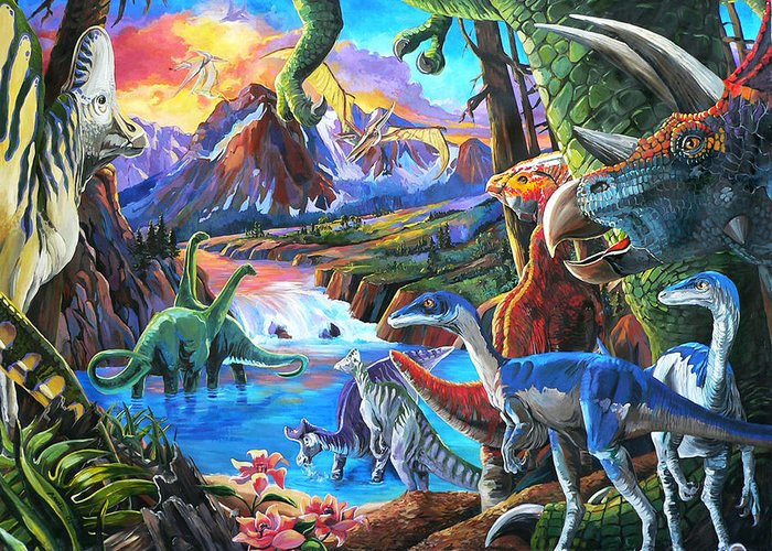 Dinosaurs Greeting Card featuring the painting Dinosaur by Nadi Spencer