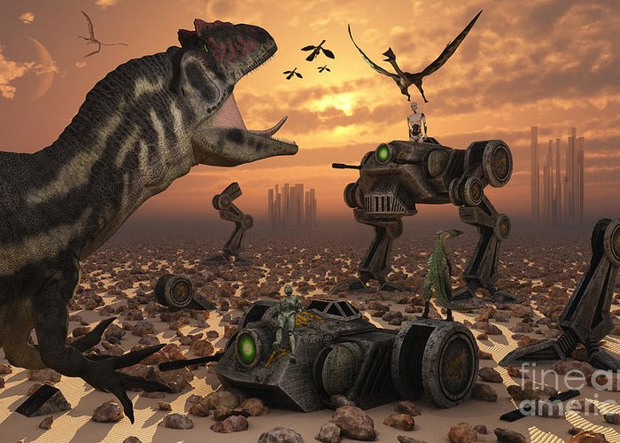 Digitally Generated Image Greeting Card featuring the digital art Dinosaurs And Robots Fight A War by Mark Stevenson