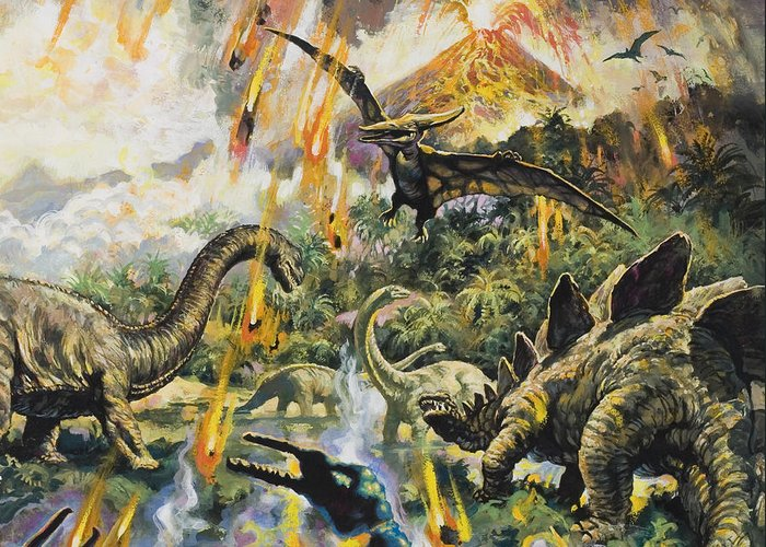 Dinosaurs Greeting Card featuring the painting Dinosaurs And Volcanoes by English School