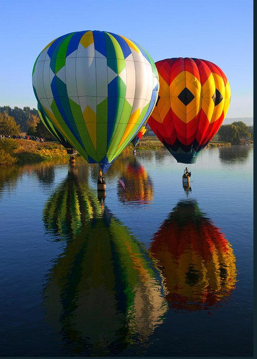 Hot-air Balloon Greeting Card featuring the photograph Dipping The Basket by Mike Dawson