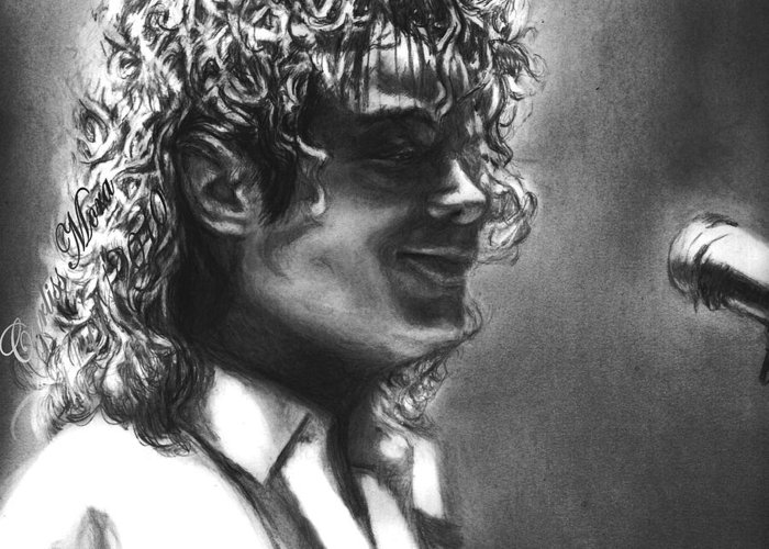 Mj Greeting Card featuring the drawing Dirty Diana by Carliss Mora
