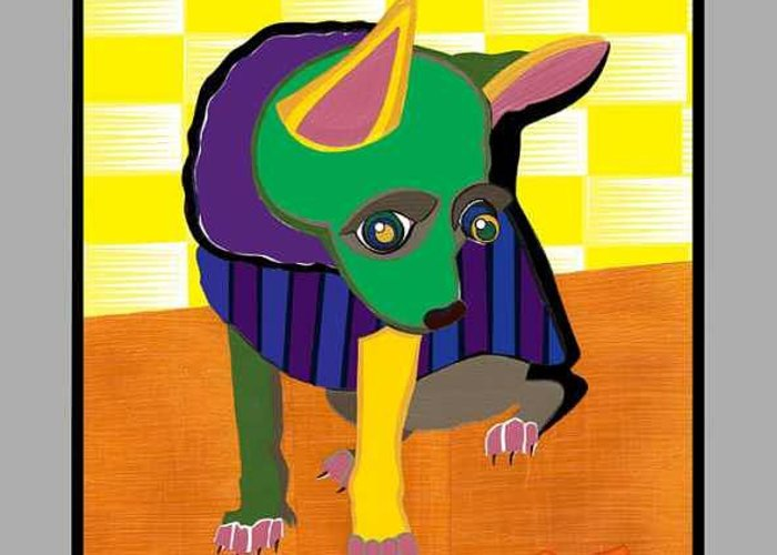 Pop Art Greeting Card featuring the painting Dirty the Chihuahua and Goldie the Goldfish by Ruby Persson