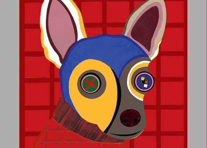 Pop Art Greeting Card featuring the painting Dirty The Chihuahua by Ruby Persson