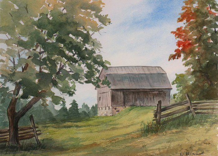 Barn Greeting Card featuring the painting Disappearing Heritage by Debbie Homewood