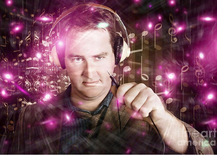 Audio Greeting Card featuring the photograph Disconnected Male Dj Holding Unplugged Audio Jack by Jorgo Photography - Wall Art Gallery