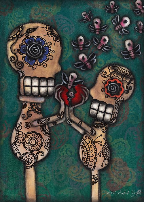 Day Of The Dead Greeting Card featuring the painting Discover by Abril Andrade Griffith