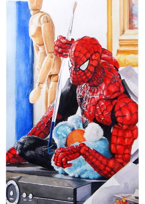 Spiderman Greeting Card featuring the painting Discovered by Debra Jones
