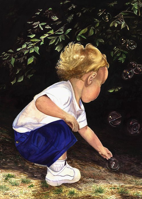 Portrait Greeting Card featuring the painting Discovering Bubbles by Terri Meyer