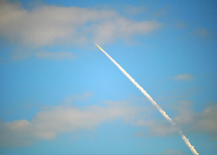 Shuttle Greeting Card featuring the photograph Discovery Launch by Laura Ogrodnik
