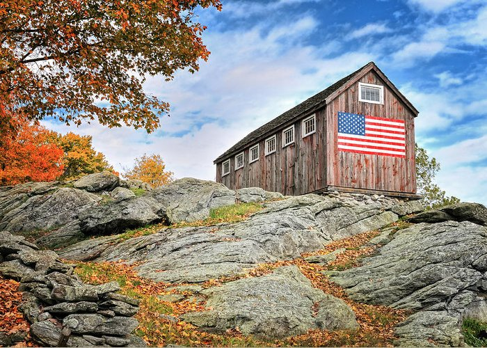 Vintage Greeting Card featuring the photograph Display Of Colors - Roxbury Barn by Thomas Schoeller