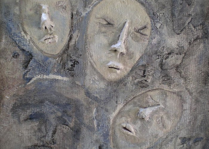 Faces Greeting Card featuring the painting Dissociative by Kime Einhorn