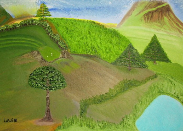 Landscape Greeting Card featuring the painting Distance Golf by Edwin Long