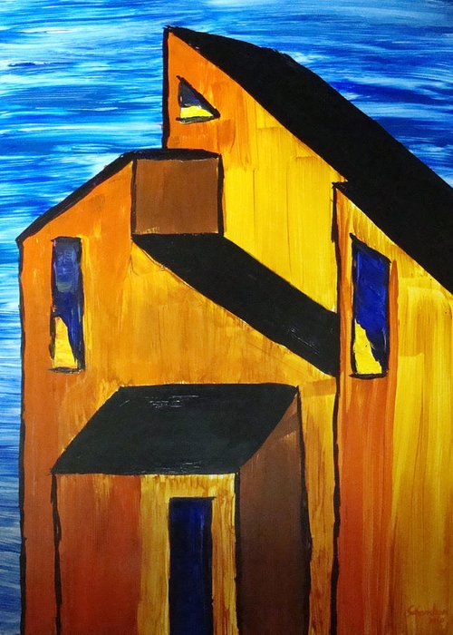 Architecture Greeting Card featuring the painting Distant by Amanda Schambon