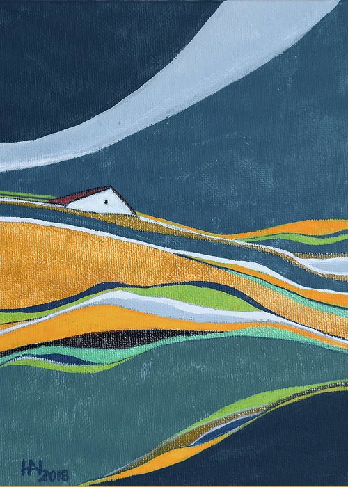 Abstract Greeting Card featuring the painting Distant House by Aniko Hencz
