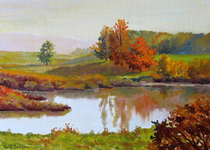 Landscape Greeting Card featuring the painting Distant Maples by Keith Burgess