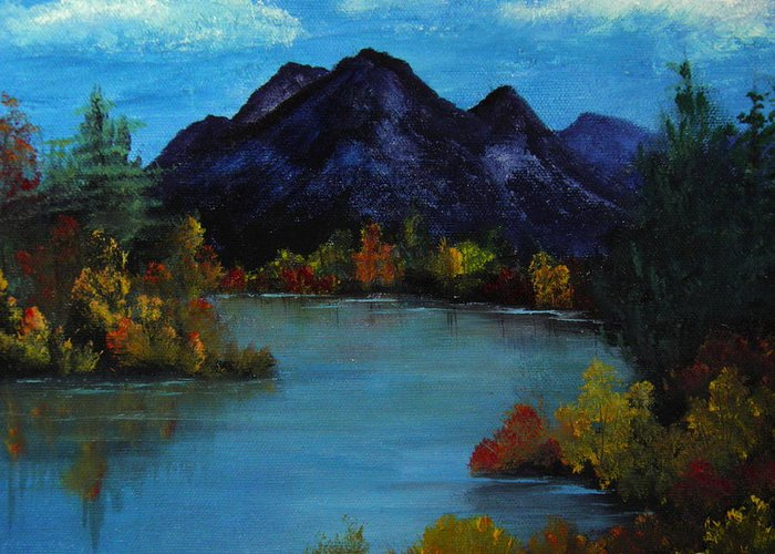 Mountain Greeting Card featuring the painting Distant Mountain View by Rhonda Myers