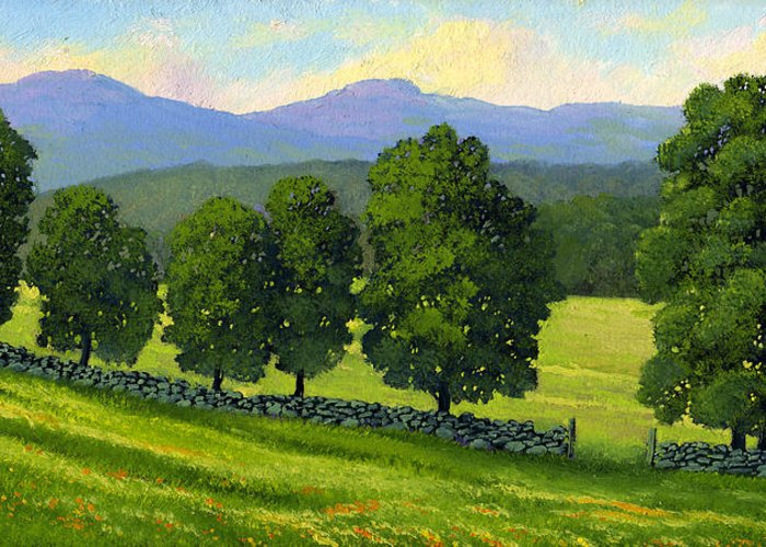 Landscape Greeting Card featuring the painting Distant Mountains by Frank Wilson