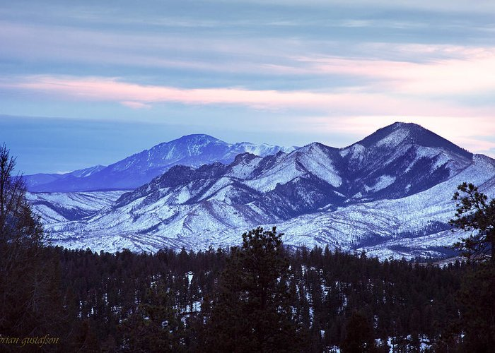 Landscape Greeting Card featuring the photograph The Distant Peaks Of Pikes by Brian Gustafson