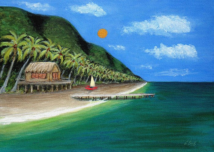 Contemporary Tropical Seascape Coastal Palm Trees Sailboat Sailing Ocean Beach Tahiti G Greeting Card featuring the painting Distant Shores by Gordon Beck