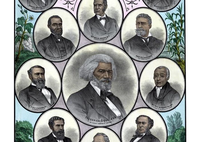 Black History Greeting Card featuring the painting Distinguished Colored Men by War Is Hell Store