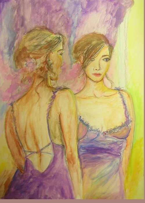 Feminine Greeting Card featuring the painting Distracted by Lizzy Forrester
