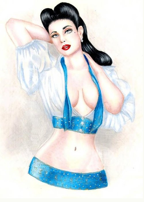 Pin-up Greeting Card featuring the drawing Dita by Scarlett Royal