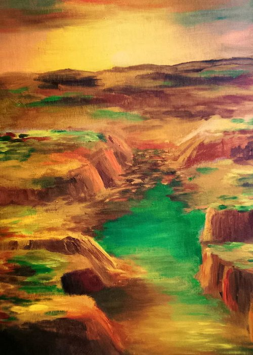 Water Greeting Card featuring the painting Ditch by Vivian Mosley