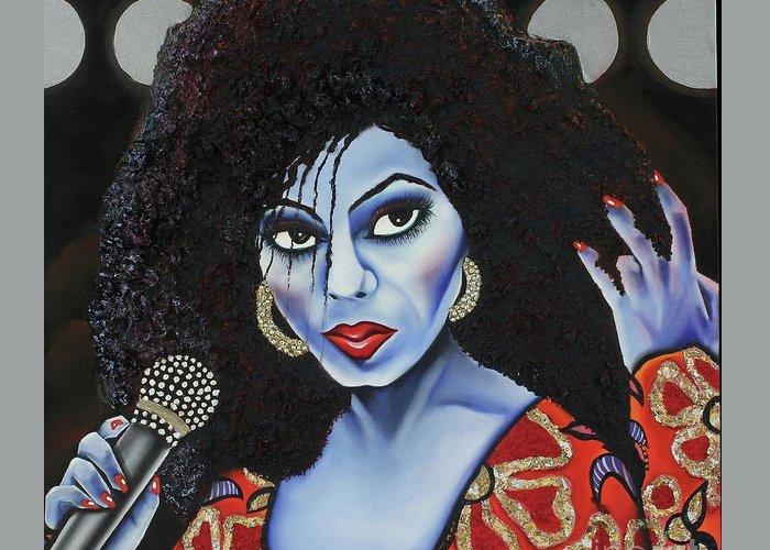 Portrait Greeting Card featuring the painting Diva Diana by Nannette Harris